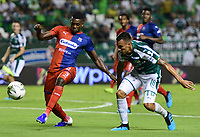 PALMASECA-COLOMBIA,18 -08-2018.Christian Rivera (Der.) del Deportivo Cali disputa el balón con Jesus Murillo (Izq.) del Independiente Medellín durante partido por la fecha 6 de la Liga Águila II 2019 jugado en el estadio Deportivo Cali de la ciudad de Palmira./ Christian Rivera (R) player of Deportivo Cali  fights for the ball with Jesus Murillo  (L) of Independiente Medellin during the match for the date 6 of the Aguila League II 2018 played at Alfonso Lopez  stadium in Palmaseca city. Photo: VizzorImage/ Nelson Rios / Contribuidor