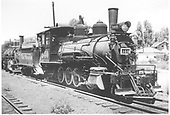 3/4 engineer's-side view of D&amp;RGW #340 at Montrose.<br /> D&amp;RGW  Montrose, CO