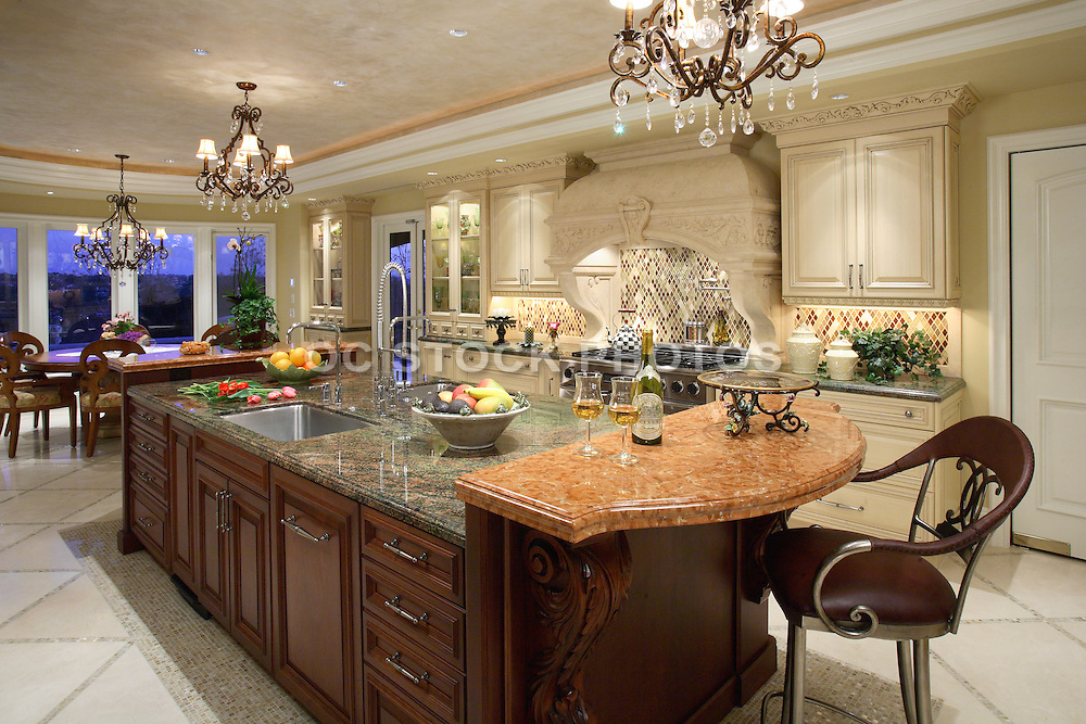 Large Kitchen Island Designs And Plans: Large Custom Kitchen With Granite Island And Beautiful