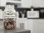 USA, Illinois, Metamora, Glass jar with coins on kitchen counter