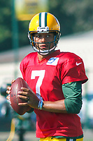 Green Bay Packers quarterback Brett Hundley (7) during a training camp practice on August 1, 2017 at Ray Nitschke Field in Green Bay, Wisconsin.  (Brad Krause/Krause Sports Photography)