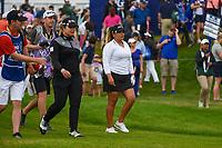 Ariya Jutanugarn (THA) and Lizette Salas (USA) head down 1 during round 4 of the KPMG Women's PGA Championship, Hazeltine National, Chaska, Minnesota, USA. 6/23/2019.<br /> Picture: Golffile | Ken Murray<br /> <br /> <br /> All photo usage must carry mandatory copyright credit (© Golffile | Ken Murray)