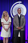 Jane Krakowski and Christopher Jackson on stage during the 2017 Tony Awards Nominations Announcement at The New York Public Library for the Performing Arts on May 2, 2017 in New York City