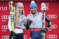 Peter Fill vince la coppa del mondo di Discesa Libera <br /> Podio con Lindsey Vonn vincitrice coppa femminile <br /> Saint Moritz 16-03-2016 Sci Alpino <br /> Foto Manuel Lopez / Freshfocus / Insidefoto
