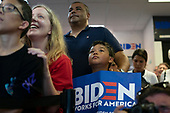 Supporters listen as 2020 Democratic Presidential candidate Joe Biden speaks as his campaign opens a new campaign office in Iowa City, Iowa on Wednesday, August 7, 2019. Biden is kicking off a 4 day tour of Iowa. Credit: Alex Edelman / CNP