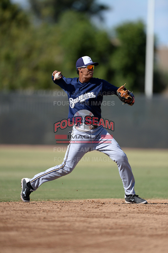 Milwaukee Brewers shortstop Angel Ortega (9) during an Instructional League game against the Oakland Athletics on October 10, 2013 at Maryvale Baseball Park Training Complex in Phoenix, Arizona.  (Mike Janes/Four Seam Images)