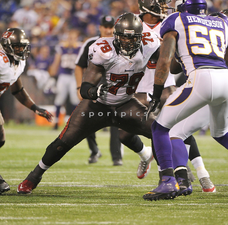 Tampa Bay Buccaneers Jamon Meredith (79) in action during a game against the Vikings on October 25, 2012 at Mall of America Field in Minneapolis, MN. The Bucs beat the Vikings 36-17.