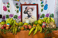 Matatlan, Oaxaca; Mexico; North America.  Close-up of a Family Altar in Honor of the former Patron of the House, Decorated for the Day of the Dead Celebrations.