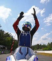 May 17, 2015; Commerce, GA, USA; NHRA pro stock motorcycle rider Hector Arana Sr celebrates after winning the Southern Nationals at Atlanta Dragway. Mandatory Credit: Mark J. Rebilas-USA TODAY Sports