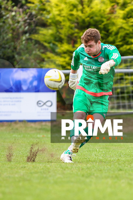 Steve Clark of Risborough Rangers FC  during the FA Cup match between Ampthill Town FC and Risborough Rangers FC, who play their inaugural match in the competition at Woburn Street, Ampthill, England on 15 August 2015. Photo by David Horn.
