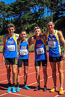 The victorious Otago youth men's 400m relay team on day three of the 2015 National Track and Field Championships at Newtown Park, Wellington, New Zealand on Sunday, 8 March 2015. Photo: Dave Lintott / lintottphoto.co.nz