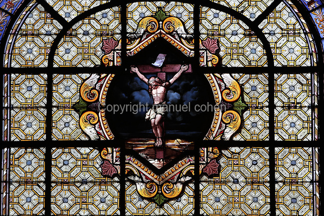 Christ Crucified, stained glass window, Chapelle des Ames du Purgatoire (Chapel of Souls in Purgatory), Eglise Saint-Sulpice (St Sulpitius' Church), c.1646-1745, late Baroque church on the Left Bank, Paris, France. Picture by Manuel Cohen