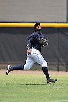 GCL Yankees 1 outfielder Alexander Palma (36) tracks a fly ball during the second game of a doubleheader against the GCL Braves on July 1, 2014 at the Yankees Minor League Complex in Tampa, Florida.  GCL Braves defeated the GCL Yankees 1 by a score of 3-1.  (Mike Janes/Four Seam Images)