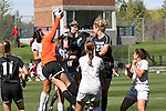 Meghan Berlingo, Washington State senior goal keeper, leaps to attempt a save during the Cougars match with Colorado in the Gonzaga tournament in Spokane, Washington, on September 12, 2010.  WSU fell to Colorado in overtime, 2-1.