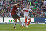 06.10.2018, HDI Arena, Hannover, GER, 1.FBL, Hannover 96 vs VfB Stuttgart<br /> <br /> DFL REGULATIONS PROHIBIT ANY USE OF PHOTOGRAPHS AS IMAGE SEQUENCES AND/OR QUASI-VIDEO.<br /> <br /> im Bild / picture shows<br /> Niclas F&uuml;llkrug / Fuellkrug (Hannover 96 #24) im Duell / im Zweikampf mit Andreas Beck (VfB Stuttgart #32), <br /> <br /> Foto &copy; nordphoto / Ewert