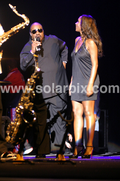 **ALL ROUND PICTURES FROM SOLARPIX.COM**.**WORLDWIDE SYNDICATION RIGHTS**.Stevie Wonder with his daughter Aisha in concert at the NIA in the town of Birmingham in the north of England the event was held on the 08_09_08..This pic:Stevie Wonder,Aisha..JOB REF:7257-NYA     DATE:08_09_08.**MUST CREDIT SOLARPIX.COM OR DOUBLE FEE WILL BE CHARGED* *UNDER NO CIRCUMSTANCES IS THIS IMAGE TO BE REPRODUCED FOR ANY ONLINE EDITION WITHOUT PRIOR PERMISSION*