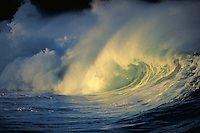 Wave breaking at Waimea Bay, Hawaii. Hawaii, Waimea Bay.