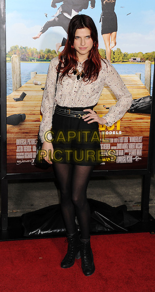 "Lake Bell.""Wanderlust"" Los Angeles Premiere held at the Regency Village Theatre, Westwood, California, USA..February 16th, 2012.full length shirt blouse tights boots white print necklace shorts hand on hip  .CAP/ROT/TM.©Tony Michaels/Roth Stock/Capital Pictures"