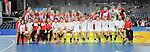 Leipzig, Germany, February 08: Teams of Austria pose at the prize giving ceremony at the FIH Indoor Hockey World Cup on February 8, 2015 at the Arena Leipzig in Leipzig, Germany. (Photo by Dirk Markgraf / www.265-images.com) *** Local caption ***