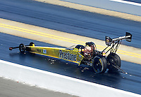 Apr. 14, 2012; Concord, NC, USA: NHRA top fuel dragster driver Spencer Massey during qualifying for the Four Wide Nationals at zMax Dragway. Mandatory Credit: Mark J. Rebilas-
