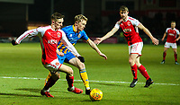 Fleetwood Town's Ashley Hunter gets away from Shrewsbury Town's Luke Hendrie<br /> <br /> Photographer Alex Dodd/CameraSport<br /> <br /> The EFL Sky Bet League One - Fleetwood Town v Shrewsbury Town - Tuesday 13th February 2018 - Highbury Stadium - Fleetwood<br /> <br /> World Copyright &copy; 2018 CameraSport. All rights reserved. 43 Linden Ave. Countesthorpe. Leicester. England. LE8 5PG - Tel: +44 (0) 116 277 4147 - admin@camerasport.com - www.camerasport.com