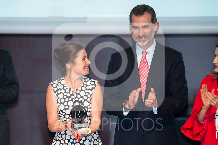 Sara Baras and King Felipe VI of Spain during the delivery of the accreditations to the new ambassadors of the Marca España 2017 at Reina Sofia Museum in Madrid. March 14, 2017. (ALTERPHOTOS/Borja B.Hojas)