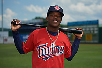 Elizabethton Twins Yunior Severino (22) poses for a photo before a game against the Bristol Pirates on July 29, 2018 at Joe O'Brien Field in Elizabethton, Tennessee.  Bristol defeated Elizabethton 7-4.  (Mike Janes/Four Seam Images)