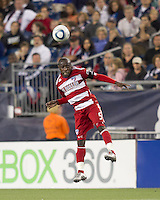 FC Dallas defender Jair Benitez (5) heads the ball. In a Major League Soccer (MLS) match, the New England Revolution defeated FC Dallas, 2-0, at Gillette Stadium on September 10, 2011.