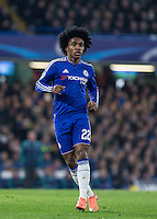 Willian of Chelsea during the UEFA Champions League Round of 16 2nd leg match between Chelsea and PSG at Stamford Bridge, London, England on 9 March 2016. Photo by Andy Rowland.