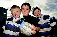 30th November 2013; Ryan Flaherty, Charlie Keane and Sean O'Flynn from Corinthians Under age rugby ahead of the game. Ulster Bank League Division 1B, Corinthians v Terenure, Corinthian Park, Galway. Picture credit: Tommy Grealy/actionshots.ie.