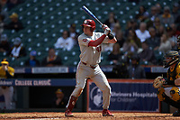 Brady Lindsly (40) of the Oklahoma Sooners at bat against the Missouri Tigers in game four of the 2020 Shriners Hospitals for Children College Classic at Minute Maid Park on February 29, 2020 in Houston, Texas. The Tigers defeated the Sooners 8-7. (Brian Westerholt/Four Seam Images)