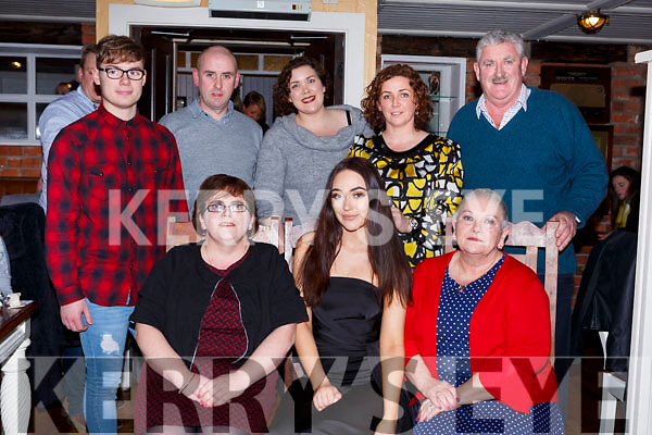 Mellissa Ferris Beaufort celebrated her 18th birthday with her family in the Porterhouse restaurant Killarney on Saturday night front row l-r: Dienna, Melissa and Mary ferris. Back row: Alan lynch, Denis Hickey, Justine King, Lorraine Hickey and Brendan Ferris