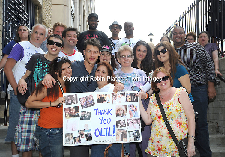 David Gregory and fans attending The One Life to Live.43rd Anniversary Block Party outside the ABC Studio on July 15, 2011 in New York City.