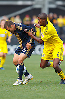 24 OCTOBER 2010:  Columbus Crew defender Andy Iro (6) defends Philadelphia Union forward Alejandro Moreno (15) during MLS soccer game at Crew Stadium in Columbus, Ohio on August 28, 2010.