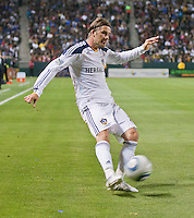 CARSON, CA – May 14, 2011: LA Galaxy midfielder David Beckham (23) strikes a centering pass during the match between LA Galaxy and Sporting Kansas City at the Home Depot Center in Carson, California. Final score LA Galaxy 4, Sporting Kansas City 1.
