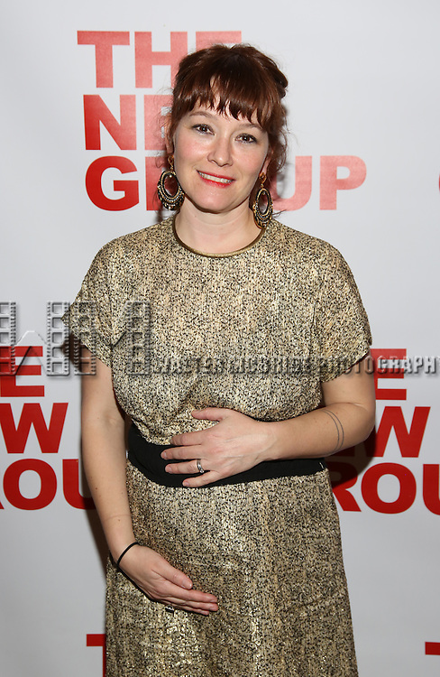 """Erica Schmidt, pregant, attends the Opening Night of The New Group World Premiere of """"All The Fine Boys"""" at the The Green Fig Urban Eatery on March 1, 2017 in New York City."""