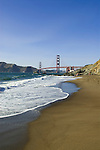 San Francisco: Baker Beach with Golden Gate Bridge in background.  Photo # 2-casanf83769.  Photo copyright Lee Foster