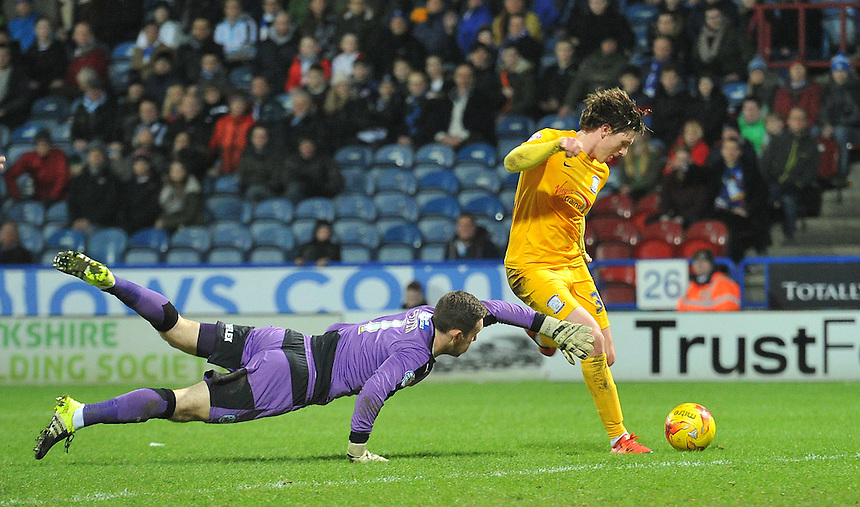 Preston North End's Adam Reach scores his team's only goal of the game<br /> <br /> Photographer Dave Howarth/CameraSport<br /> <br /> Football - The Football League Sky Bet Championship - Huddersfield Town v Preston North End - Saturday 26th December 2015 - The John Smith's Stadium - Huddersfield<br /> <br /> &copy; CameraSport - 43 Linden Ave. Countesthorpe. Leicester. England. LE8 5PG - Tel: +44 (0) 116 277 4147 - admin@camerasport.com - www.camerasport.com