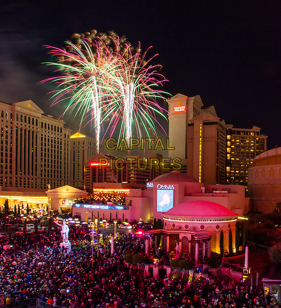 LAS VEGAS, NV - December 31, 2015: ***HOUSE COVERAGE*** New Years Eve Fireworks over Caesars Palace Las Vegas on the Las vegas Strip in Las vegas, NV on December 31, 2015. <br /> CAP/MPI/EKP<br /> &copy;EKP/MPI/Capital Pictures