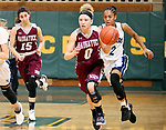 WATERBURY CT. 16 February 2018-021619SV05-#0 Sarah Wisniewski of Naugatuck takes the ball up the floor while being defended by #2 Elizabeth Wilson of Ansonia in overtime during the NVL girls basketball tournament in Waterbury Saturday. #15 Sara Macary of Naugatuck follows the play, at left.<br /> Steven Valenti Republican-American