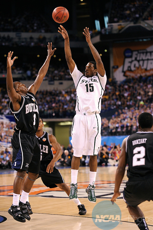 3 APR 2010: Durrell Summers (15) of Michigan State University puts up a shot as Michigan State takes on Butler University during the semi final game of the Men's Final Four Basketball Championships held at Lucas Oil Stadium in Indianapolis, IN. Butler University went on to defeat Michigan State University 52-50 to advance to the championship game. Ryan McKee/NCAA Photos