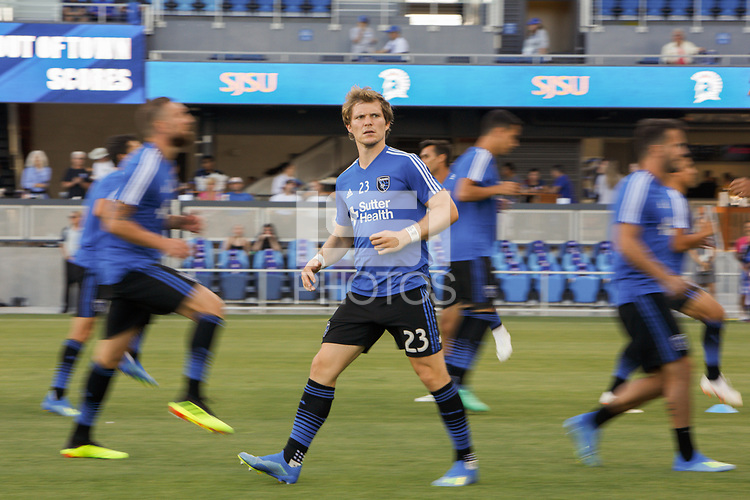 San Jose, CA - Wednesday July 25, 2018: Florian Jungwirth during a Major League Soccer (MLS) match between the San Jose Earthquakes and the Seattle Sounders FC at Avaya Stadium.