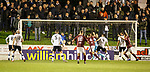 22.11.2019 Linlithgow Rose v Falkirk: Linlithgow scramble the ball over the line for an equaliser