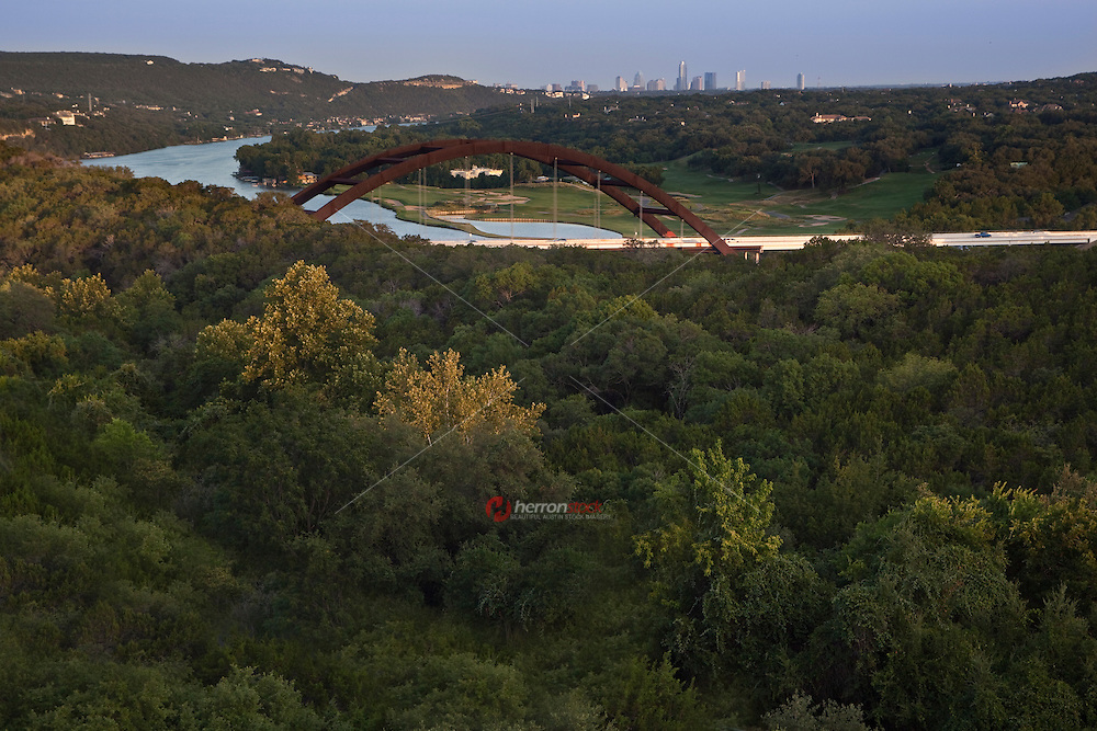 360 Bridge, aka Pennybacker Bridge, on Capital of Texas Highway and Lake Austin overlooking the Downtown Austin Skyline