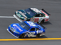 Apr 25, 2008; Talladega, AL, USA; NASCAR Sprint Cup Series driver Ryan Newman (12) races alongside Dale Earnhardt Jr (88) during practice for the Aarons 499 at Talladega Superspeedway. Mandatory Credit: Mark J. Rebilas-US PRESSWIRE