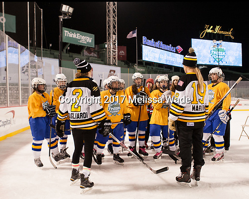 "Alyssa Gagliardi and Gigi Marvin - Members of the Boston Pride helped put on a clinic for ""Women's and Girls' Hockey Day on Tuesday, January 10, 2017, at Fenway Park in Boston, Massachusetts."