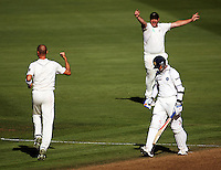 Bowler Chris Martin (left) and Jesse Ryder celebrate the dismissal of Rahul Dravid during day one of the 3rd test between the New Zealand Black Caps and India at Allied Prime Basin Reserve, Wellington, New Zealand on Friday, 3 April 2009. Photo: Dave Lintott / lintottphoto.co.nz