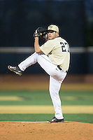Wake Forest Demon Deacons relief pitcher Parker Johnson (27) in action against the UConn Huskies at Wake Forest Baseball Park on March 17, 2015 in Winston-Salem, North Carolina.  The Demon Deacons defeated the Huskies 6-2.  (Brian Westerholt/Four Seam Images)