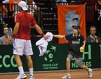 15-sept.-2013,Netherlands, Groningen,  Martini Plaza, Tennis, DavisCup Netherlands-Austria, fourth rubber,  Ballboy <br /> Photo: Henk Koster