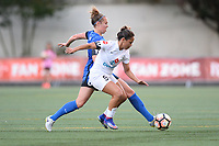 Seattle, WA - Saturday June 24, 2017: Lindsay Elston, Lo'eau Labonta during a regular season National Women's Soccer League (NWSL) match between the Seattle Reign FC and FC Kansas City at Memorial Stadium.